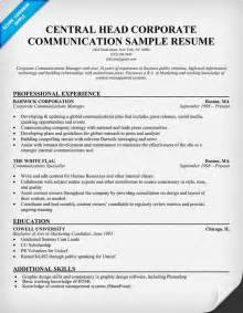communications resume sle corporate communication resume sle marketing