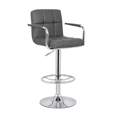 Grey Leather Bar Stool Glenn Bar Stool In Grey Faux Leather With Chrome Base 27187