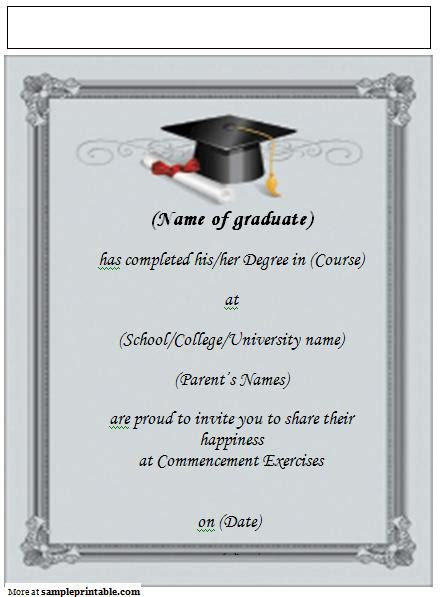 template for name cards for graduation announcements best collection of college graduation invitation templates