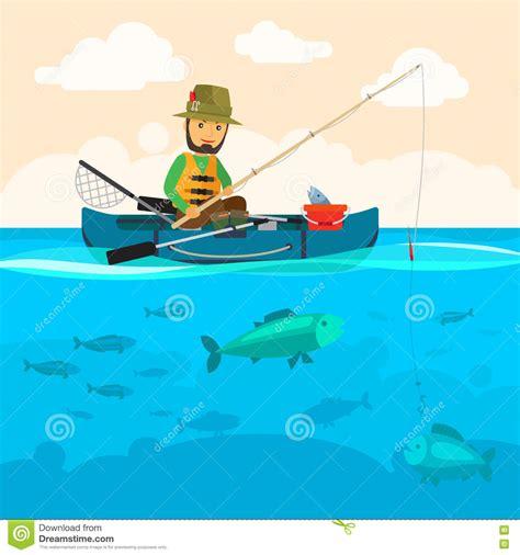 cartoon fisherman in boat fisherman on a boat vector illustration stock vector