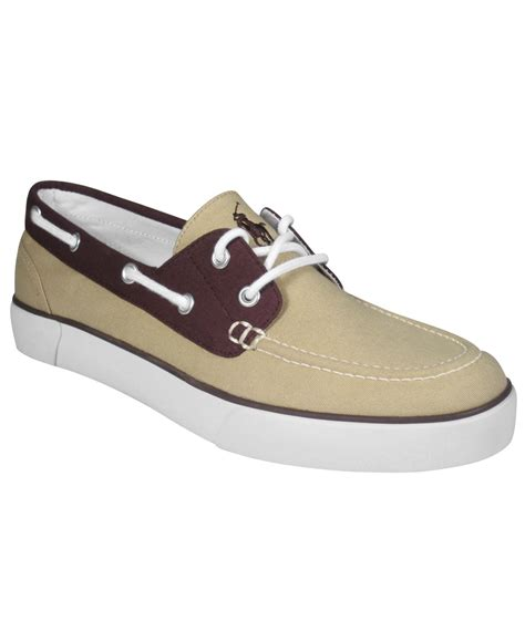 polo lander boat shoes lyst polo ralph lauren lander boat shoes in natural for men