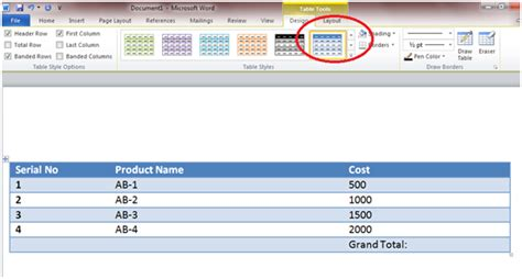 Change Table Style Word How To Insert Table And Formula In Word 2010 Information Technology On Apple