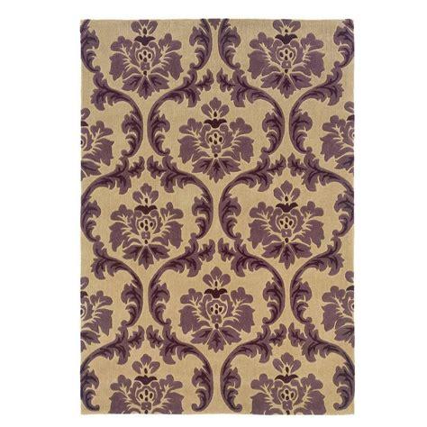 home decor area rugs linon home decor trio collection cream and purple 5 ft x