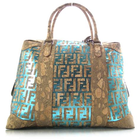 Fendi B Mix Cork Bag by Fendi Cork Coated Leather B Mix Tote Metallic 19022