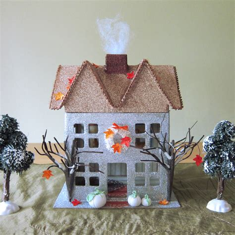 How To Make A Paper Mache House - thanksgiving putz glitter house brown eyed