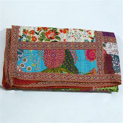 Patchwork Bedspreads And Throws - size multicolor patchwork kantha quilt blanket