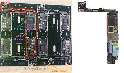 iphone 7s plus bare logic board poses for the a11 chip and intel modem markings observed