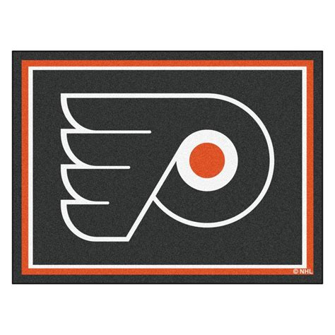 flyers rug fanmats nhl philadelphia flyers black 8 ft x 10 ft indoor area rug 17523 the home depot