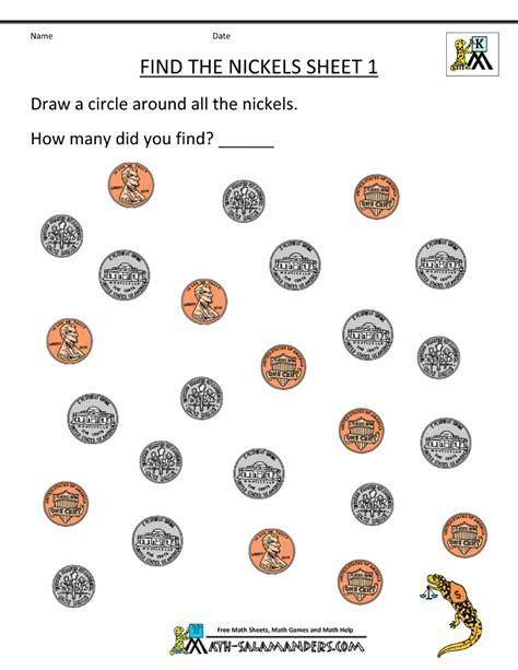 Coin Worksheets by Kindergarten Money Worksheets 1st Grade