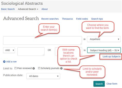 Ca State Advanced Search Using Sociological Abstracts Effectively Trent