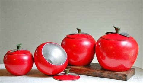 apple canisters for the kitchen vintage metal apple canister set bright by thezoebird on etsy 35 00 retro