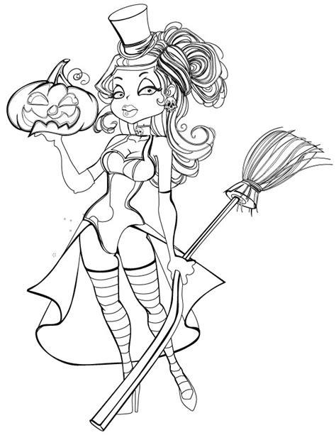 Dessin a imprimer halloween femme sorcière - Artherapie.ca