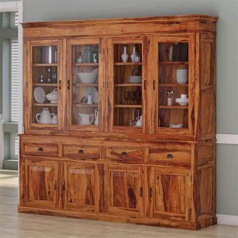 cariboo contemporary rustic solid rosewood large dining hutch