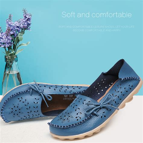 stylish shoes for flat stylish genuine leather loafers floral flat shoes blue