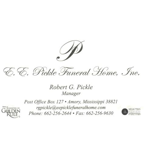 ee pickle funeral home inc amory mississippi insider