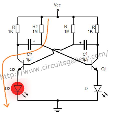 voltage across capacitor in astable multivibrator astable multivibrator using transistors transistorised circuit wave form and operation