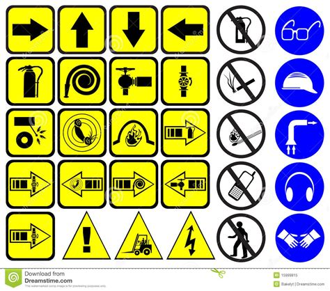 Emergency Floor Plan safety signs set royalty free stock photo image 15999815