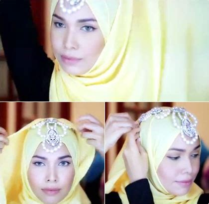 tutorial hijab dengan aksesoris kalung tutorial hijab dengan kalung sebagai aksesori kepala untuk