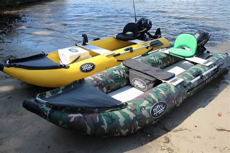 kayak boats nifty boat inflatable fishing kayak with outboard youtube