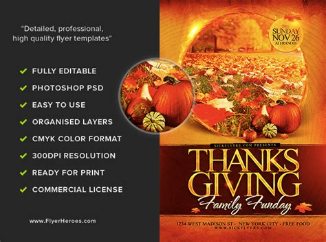 thanksgiving funday flyer template flyerheroes
