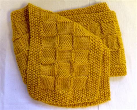 woven basket stitch knitting knitted basket weave scarf with seed stitch border