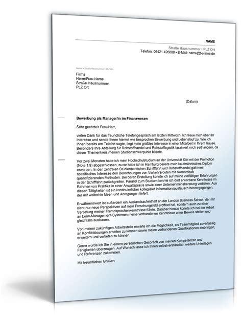 Anschreiben Unternehmen Loben Anschreiben Bewerbung Management Finanzwesen