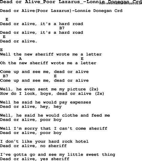 Or Lyrics Skiffle Lyrics For Dead Or Alive Poor Lazarus Lonnie Donegan With Chords For Mandolin Ukulele