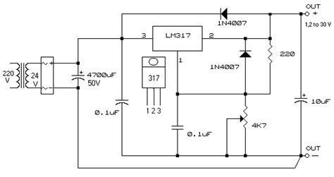 alimentatore variabile schema alimentatore con lm317