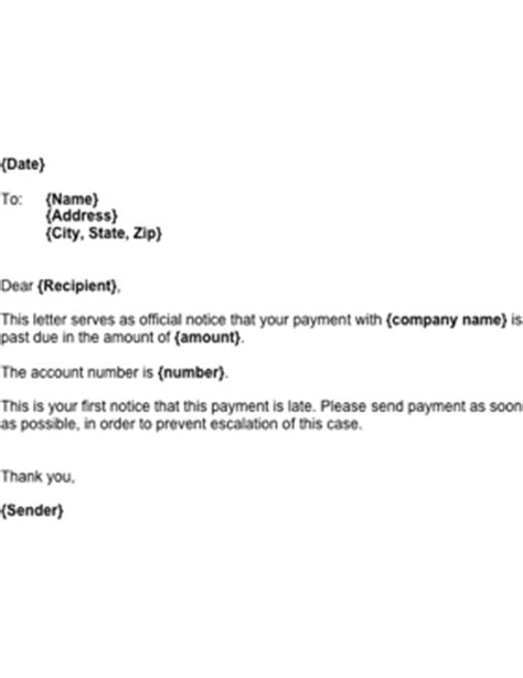 Rent Escalation Letter Late Payment Reminder Template