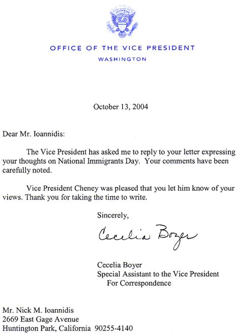 Introduction Letter Vice President National Immigrants Day