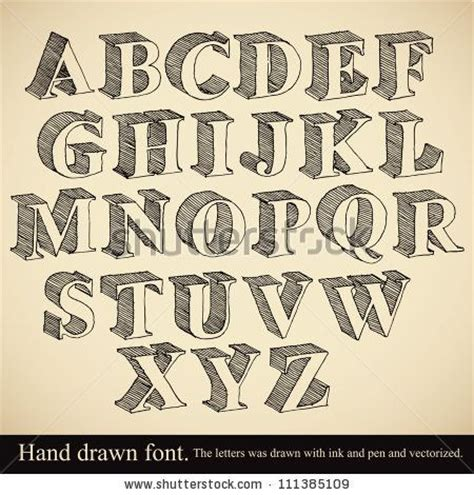 hand drawn 3d font vector alphabet vintage style by