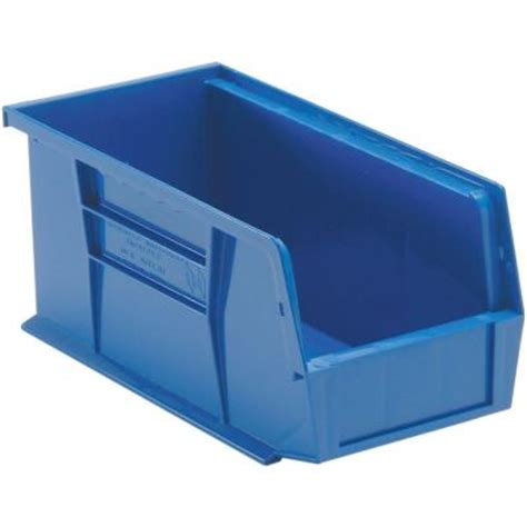 edsal 1 3 gal stackable plastic storage bin in blue 12