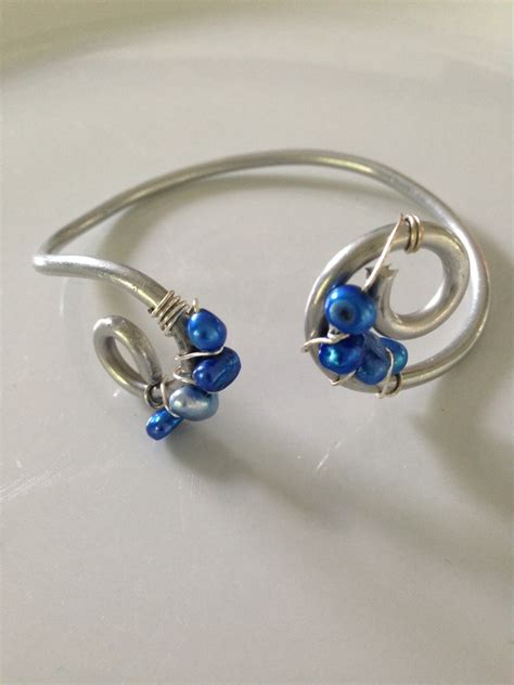 cable bead wire wrapped blue bead bracelet wire wrapped cuff wire