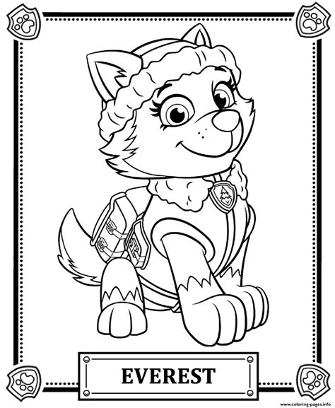 printable images of paw patrol paw patrol everest coloring pages printable