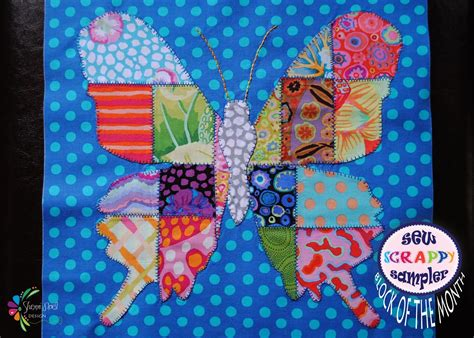 Patchwork Butterfly - butterfly quilt block of the month