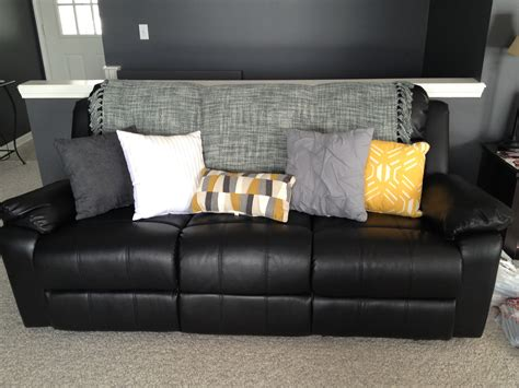 Pillows For Sofas Decorating Lighten Up A Black Leather With Bright Pillows And A Throw House Ideas
