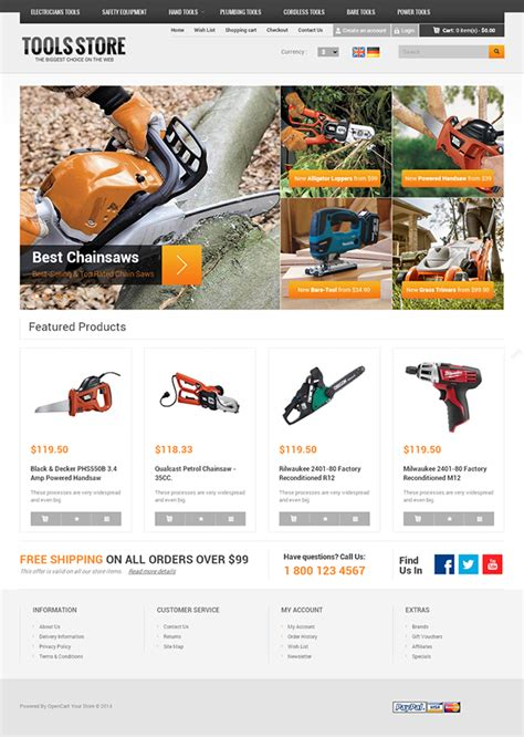Tool Store Responsive Opencart Template On Behance Dynamic Responsive Website Templates Free