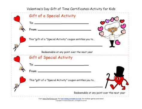 cute valentine s day gift of time coupon certificates