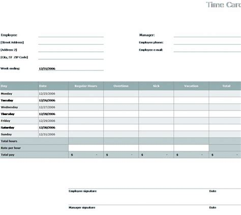employee time cards template free excel time card