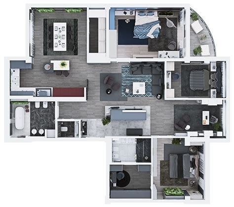 laxurious residential 3d floor plan paris sims luxury 3 bedroom apartment design under 2000 square feet