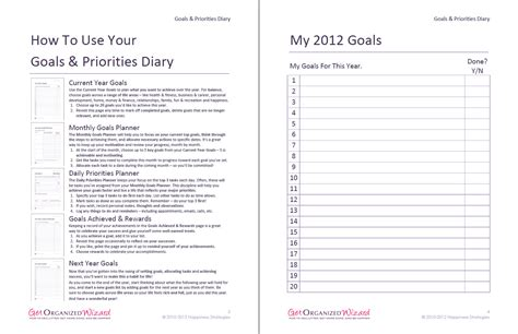 goal journal template goals and priorities diary get organized wizard