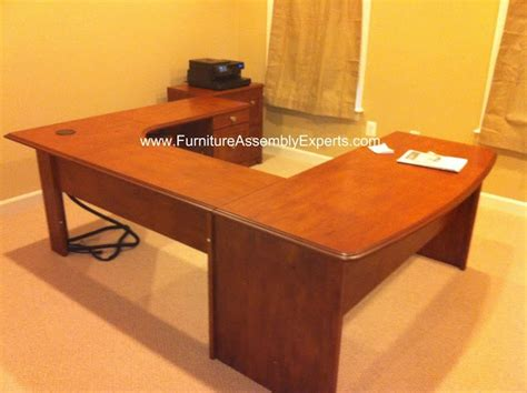 staples u shaped desk assembled in baltimore md by