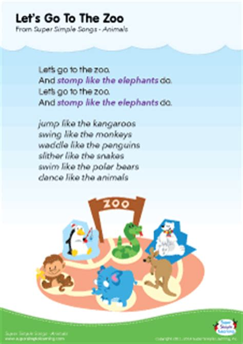 theme music to zoo time lyrics poster for let s go to the zoo animal song from