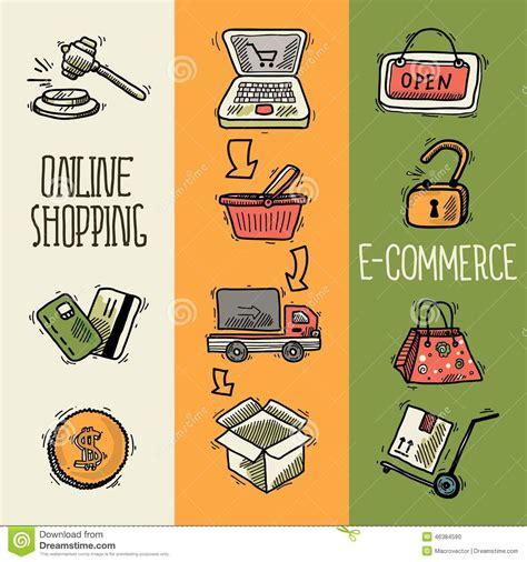 design banner on line e commerce design sketch banner stock vector