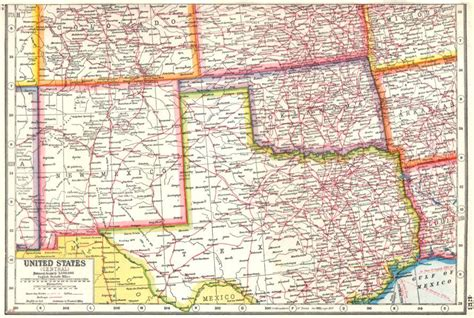 new mexico and texas map usa south centre new mexico oklahoma texas harmsworth 1920 map