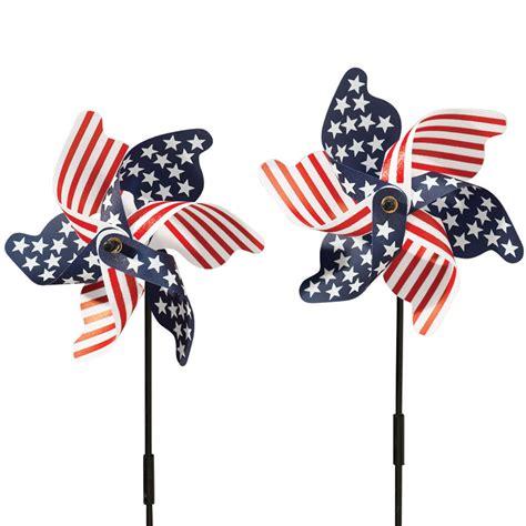 American Flag Patriotic Pinwheel Set American Flag Patriotic Pinwheel Set Of 2 Wind Spinner 4th Of July 2b Ebay