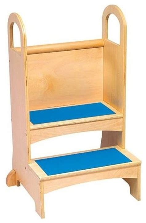 2 Step Stool With Handle by Kid S Two Step Stool In Wood W Handles Non Slip Steps