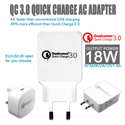 Vivan Charge 3 0 Qualcomm 3 0 Travel Charger Adapter universal eu usb travel ac adapter charger qualcomm charge 3 0 compatible qc2 0