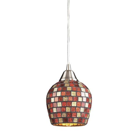 Mosaic Pendant Lighting Titan Lighting Fusion 1 Light Satin Nickel Pendant With Multi Mosaic Glass Tn 5452 The Home Depot