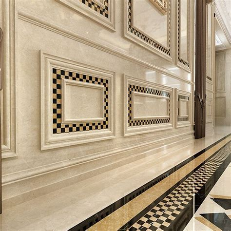 Villa Design Beige Marble Skirting Board With Ceramic